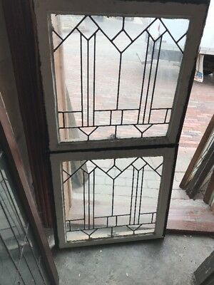 SG 1591 match Pair antique leaded glass window 24.5 W by 23.5 H