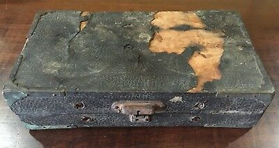 Antique 1890 Medical Apothecary Leather Case & 12 Glass Vials Science & Medicine