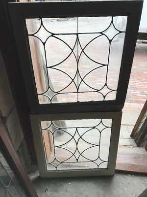 Sg 1592 Match Pair Antique Beveled Leaded Glass Windows 24.25 X 25