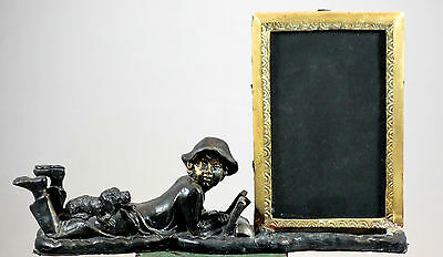 Antique Cast Bronze Brass Photo Frame Boy Figurine