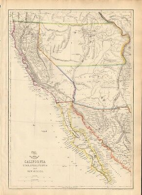 1863  Large Antique Map - Dispatch Atlas- Usa-California Utah And New Mexico