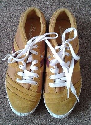 Diesel Mustard Yellow Suede Leather Trainer Shoes Uk 4 / 37