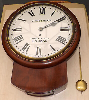 """Antique 12"""" Dial Chain Fusee Drop Dial Wall Clock J W Benson Ludgate Hill London"""