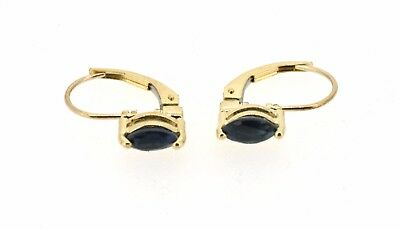 Sapphire 10ct Gold Leverback Earrings