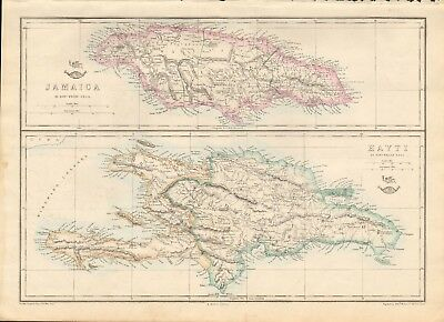 1863  Large Antique Map - Dispatch Atlas- Jamaica And Haiti