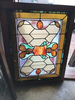 Sg 1598 Antique Stainglass Window 28 X 36.25