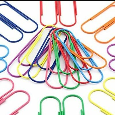 JUMBO PAPER CLIPS MULTI-COLOR Metal Vinyl Coated  2 inch/50mm  Box of  100