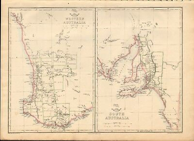 1863  Large Antique Map - Dispatch Atlas- Western Australia, South Australia