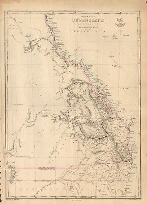 1863  Large Antique Map - Dispatch Atlas- Australia, Colony Of Queensland