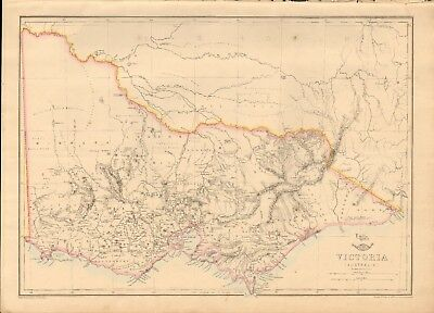 1863  Large Antique Map - Dispatch Atlas- Australia, Victoria