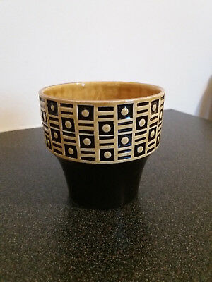 Used - Hornsea Yellow + Black Pottery Plant Pot - Marked 995 - 9cm High