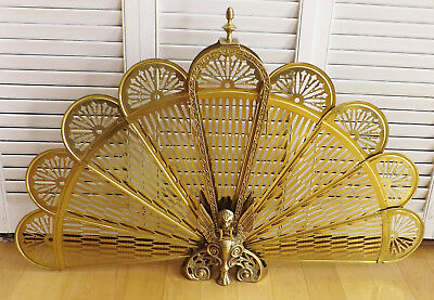 Vintage French Peacock Fan Style Griffin Brass Fire Screen