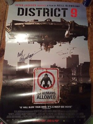 "District 9 Poster Signed By Neil Blomkamp  Sharlto Copley 24"" By 36"" One Sheet"