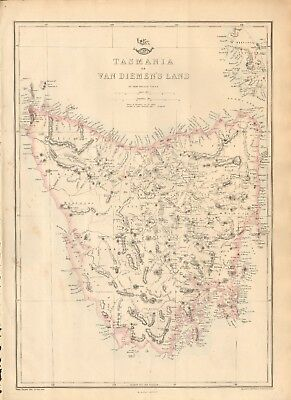 1863  Large Antique Map - Dispatch Atlas- Tasmania Or Van Diemen's Land