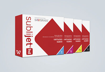 Sawgrass SubliJet-HD Ink Set (CMYK) Cartridges for Virtuoso SG800