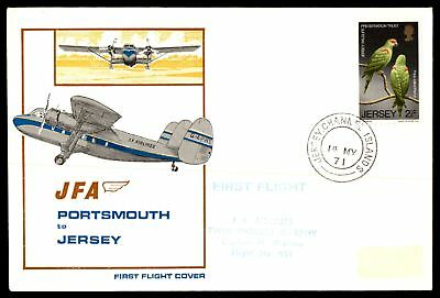 Mayfairstamps Jersey JFA 1971 FirsT flight cover to Portsmouth