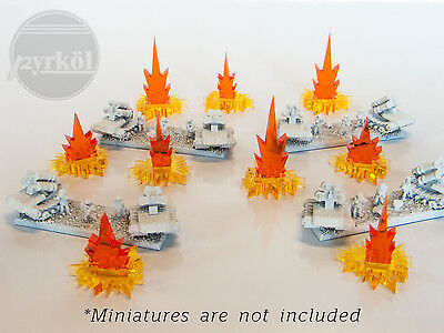 Pyrkol 9 Micro Fire Markers token set for 6mm 10mm 15mm Dystopian Axis Allies