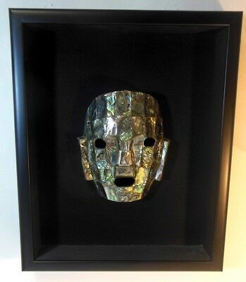 Vtg Abalone Shell Face Mask Mexico Mayan Aztec Gallery Framed