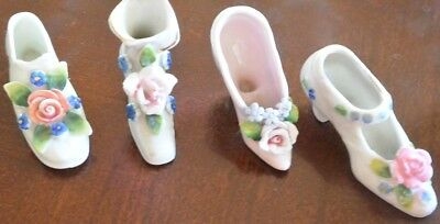 Vintage Assorted Miniature Lot of 4 Shabby Chic Porcelain Boots heel Shoes Japan