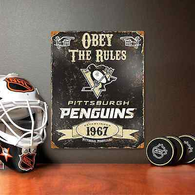 NHL Vintage Metal Sign 11.5 x 14.5  Pittsburgh Penguins