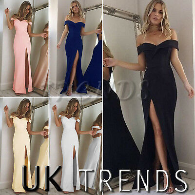 UK Womens Off Shoulder Party Dress Ladies Split Long Cocktail Dress Size 6 - 14