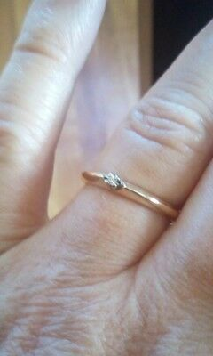 Vintage 10k Y. Gold Diamond Tiny solitaire engagement Ring Size 5.75 minimalist