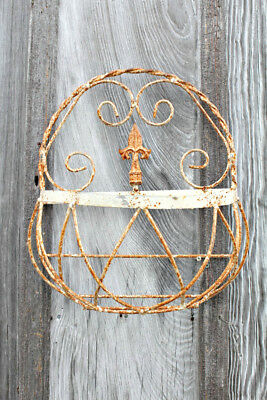 """17"""" Wrought Iron Small  Half Basket with Finial Decorative Wall Basket"""