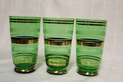 VINTAGE ANCHOR HOCKING EMERALD FOREST GREEN GLASSES - gold & frosted trim