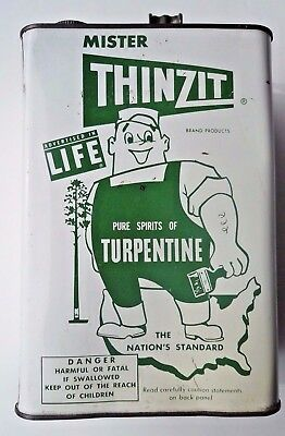 Vintage Mister ThinZit Turpentine Can - 1 Gallon. - Nice Advertising Can!