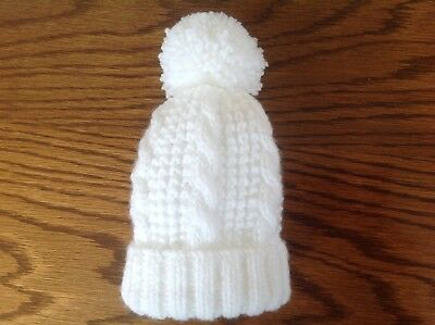 Hand Knitted White 0-3 Months Cabled Pattern Pompom Hat