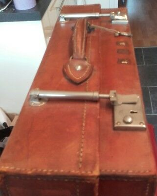 Large vintage leather suitcase luggage for wedding/classic car/stage setting