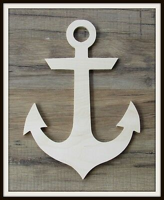 "12"" Anchor Shape Unpainted Wooden Wall Hanging Room Decor Kids Crafts 3/8"" thick"