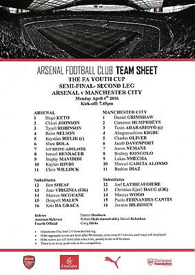 Teamsheet - Arsenal Youth v Manchester City Youth 2015/16 (4 Apr)