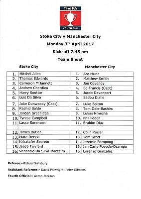 Teamsheet - Stoke City Youth v Manchester City Youth 2016/17 (3 Apr) FAYC