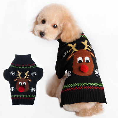 Christmas Pet Dog Puppy Costume Red Nose Elk Knit Sweater Jumper Pullover Outfit