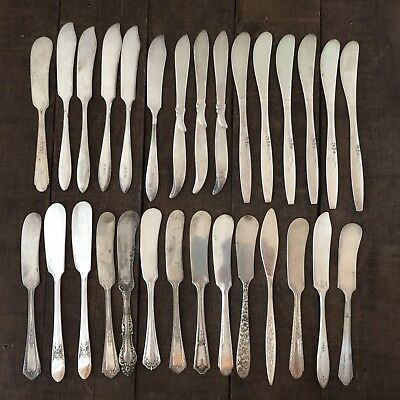 29 PC BUTTER SPREADER Knife SILVERPLATE LOT VINTAGE CRAFT REUSE REPURPOSE