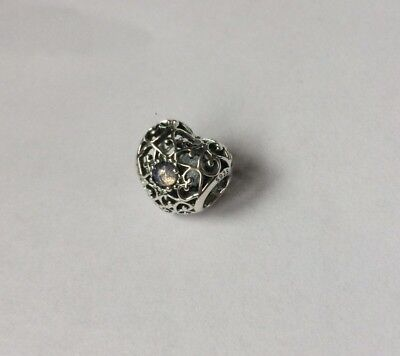 NEW Genuine Pandora October Birthstone Signature Heart Charm S925 ALE