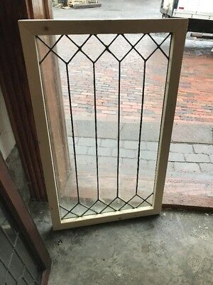 SG 1604 antique geometric leaded window 19.75 x 32.25