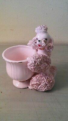 Retro & Vintage Japan Gold Accented PINK Spaghetti Poodle cup Planter! holder