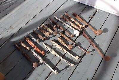 Lot Of Antique Cast Iron Window Hardware Opener Mecanism Sash Lock With Handle