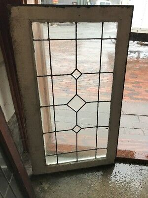 Sg 1611 antique leaded glass triple Bevel center window 21 1/8 x 36.5