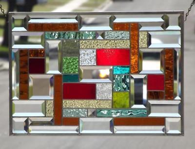 "• COLOR PLAY•Beveled Stained Glass Window Panel • 20 ½""x 14 ½"" (52x37cm"
