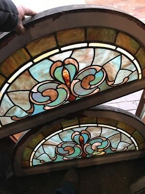 SG 1614 2 available price each antique arch top Stainglass window 20.25 x 40.5