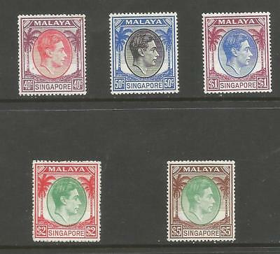Singapore Sg26-30 The 1948-52 Gv1 Perf 17.5X 18 Top 5 Values Cat £355.50