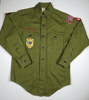 Vintage Boy Scout Sanforized Uniform Shirt 1960's Austin, Texas St. Edward High.