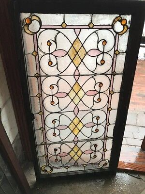 SG 1615 antique Stainglass Jeweled landing window 25.5 x 48.5
