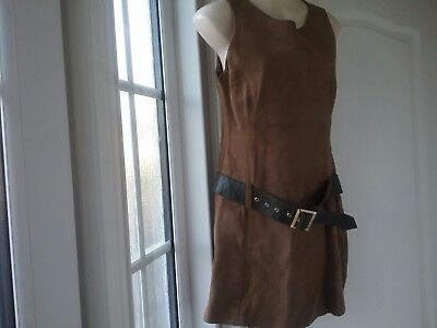1960s David Conrad for Lotus brown suede mini pinifore with leather belt