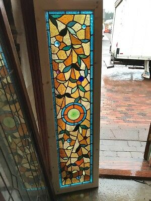 RK 32 incredible restored antique Stainglass transom window Jewele 16.25 x 59.75