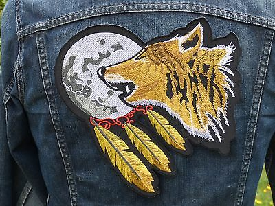 GRAND ECUSSON PATCH THERMOCOLLANT / ATTRAPE REVE LOUP LUNE indien country biker