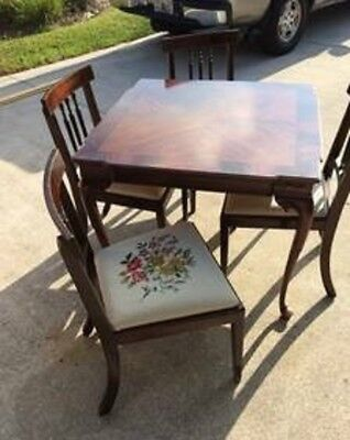 Antique Cherry Card Table with Four Embroidered Chairs